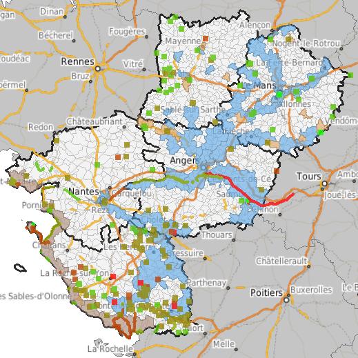 carte zone inondable vendée AZI de la rivière La Maine   Zones inondables   en Loire